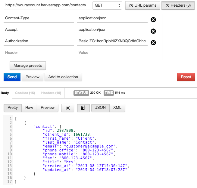 Add & Update Client Contacts – Harvest API V1 Documentation