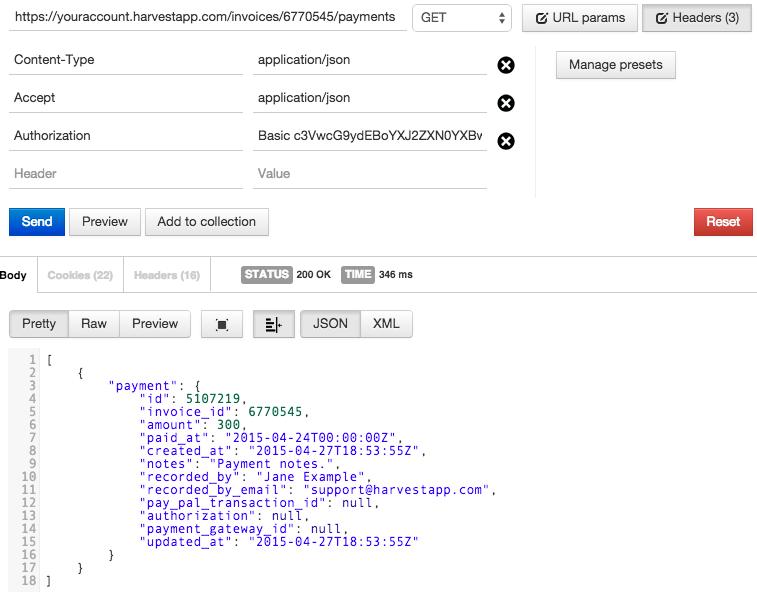 invoice messages payments harvest api v1 documentation