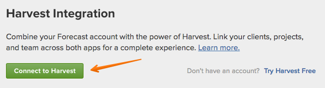 connect to harvest