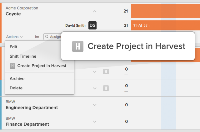 Create Project in Harvest